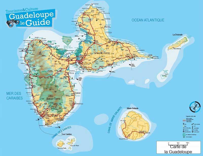 Carte détaillée de l'île de la Guadeloupe