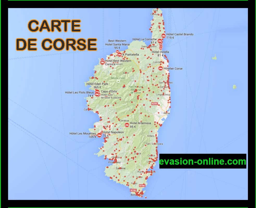 Carte corse vacances arts guides voyages for Hotels en corse