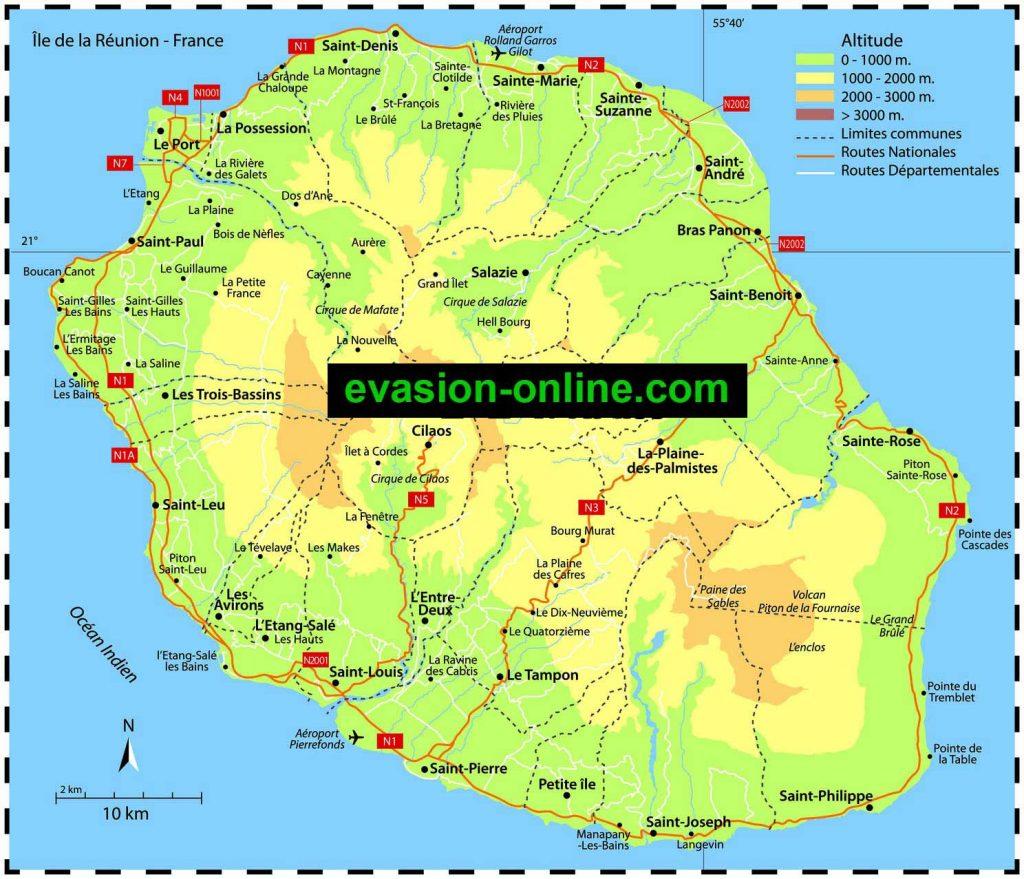 Carte île de la réunion