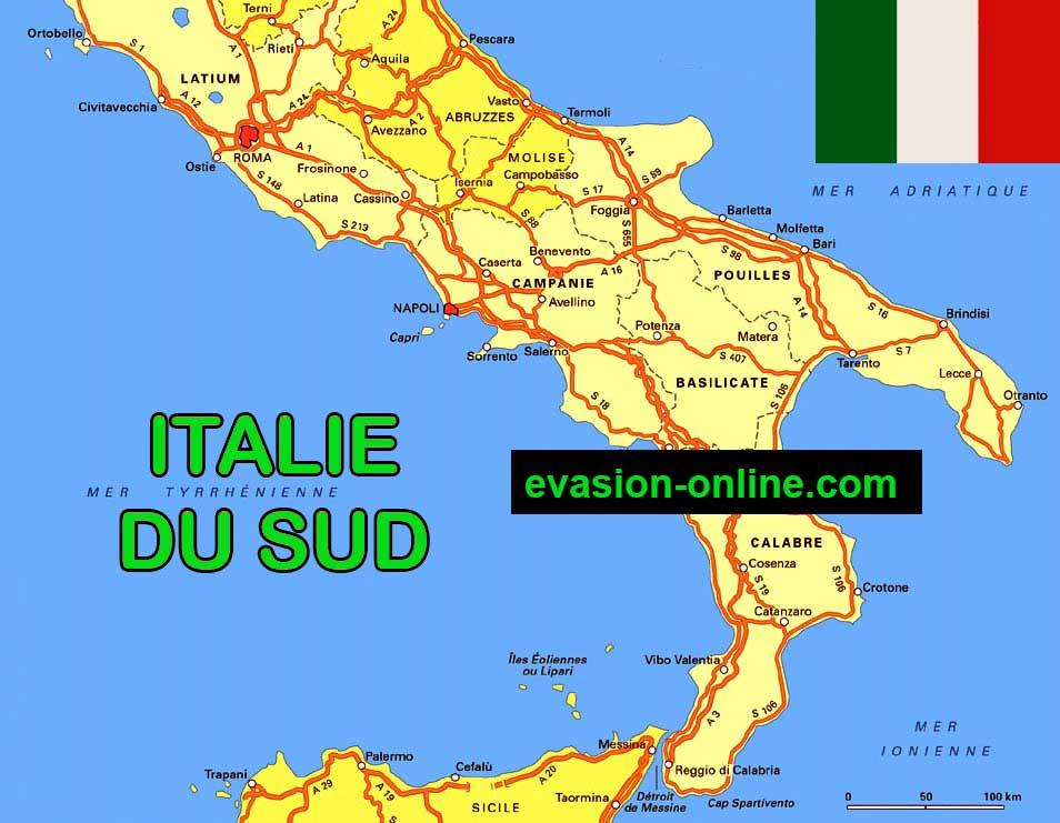 Carte Italie Sud