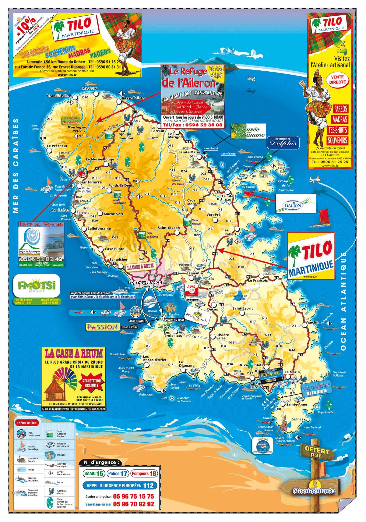Carte de la martinique vacances arts guides voyages for Lieux touristiques france
