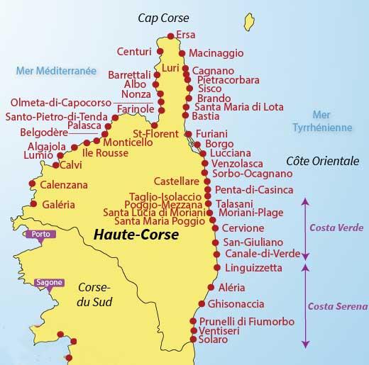 Carte des plages de Corse-Nord