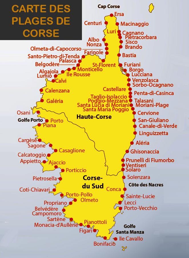 Carte des plages en corse