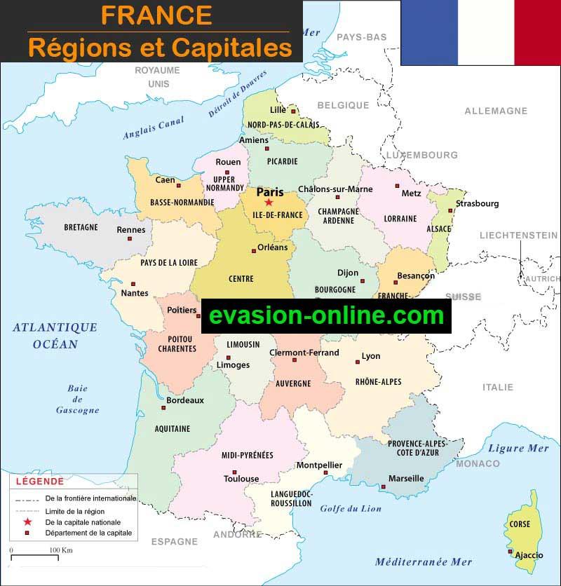 Carte des régions et capitales de France