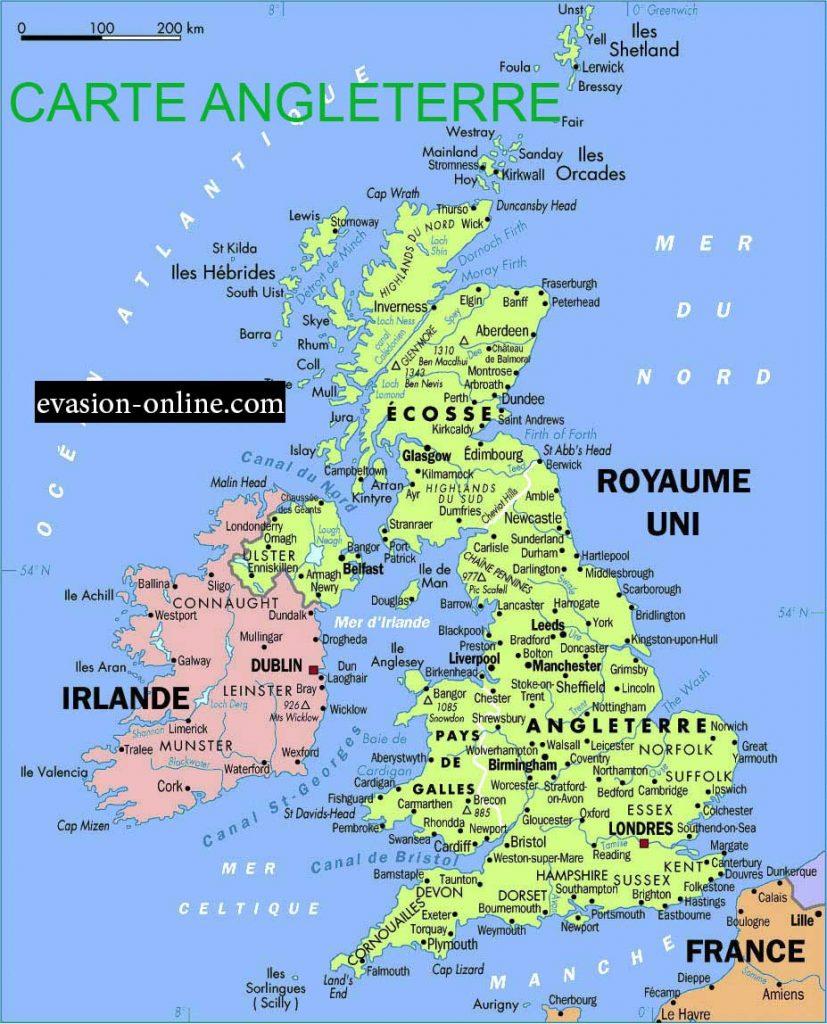 Carte villes et régions en Angleterre