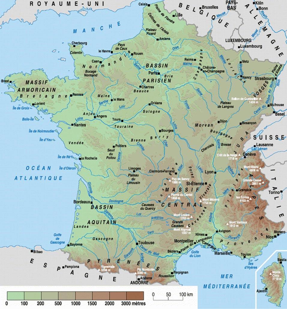 Carte de France du relief des villes