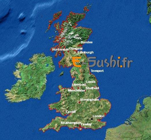 Carte satellite - Angleterre et villes