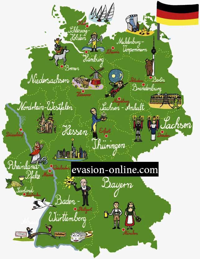 Carte touristique d'Allemagne