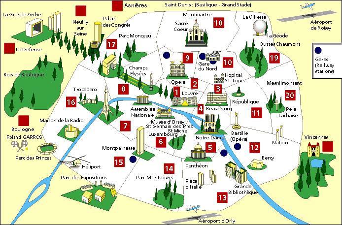 Carte lieux touristiques paris my blog for Carte touristique de paris