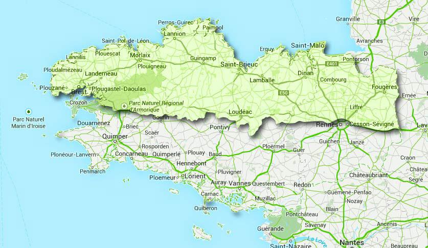 carte villes bretagne nord