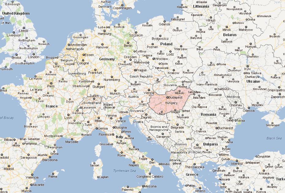 Cartes des villes en Europe