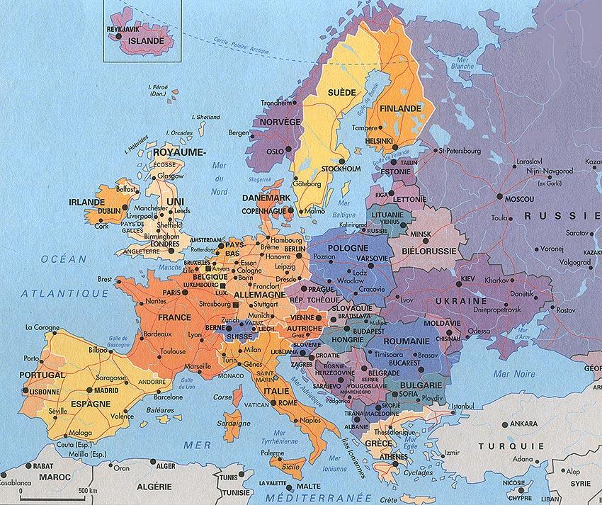carte europe villes touristiques