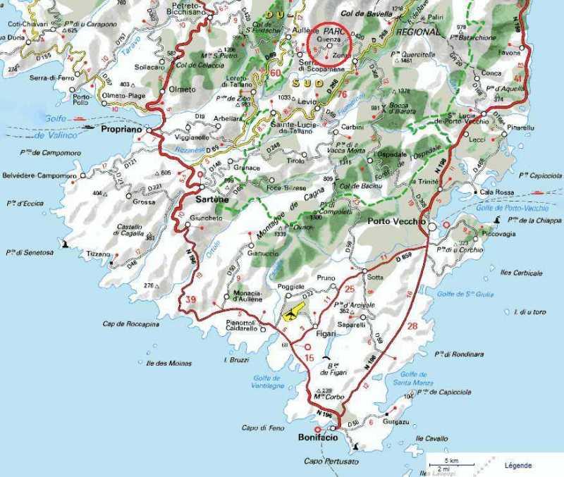 Carte Sud Corse en montagne