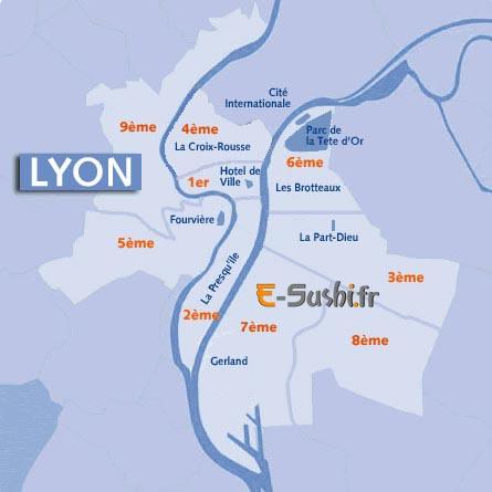 carte de lyon et ses arrondissements