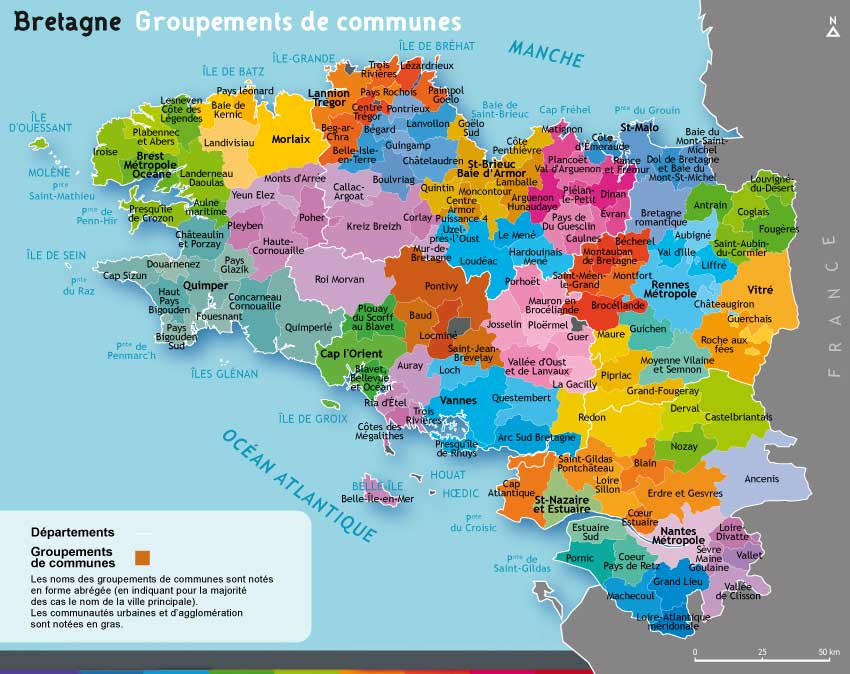 Carte des communes de Bretagne
