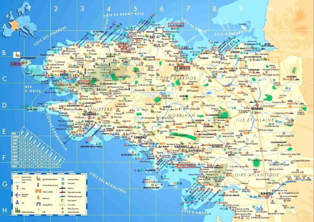 Carte de la Bretagne avec des informations touristiques