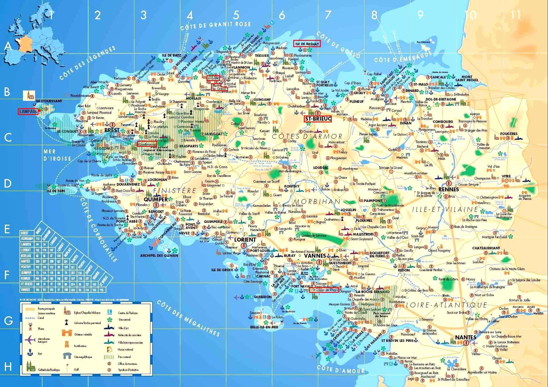 Carte Bretagne Distance.Escapade En Bretagne France Vacances Arts Guides Voyages