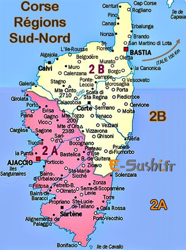 Corse - Carte régions