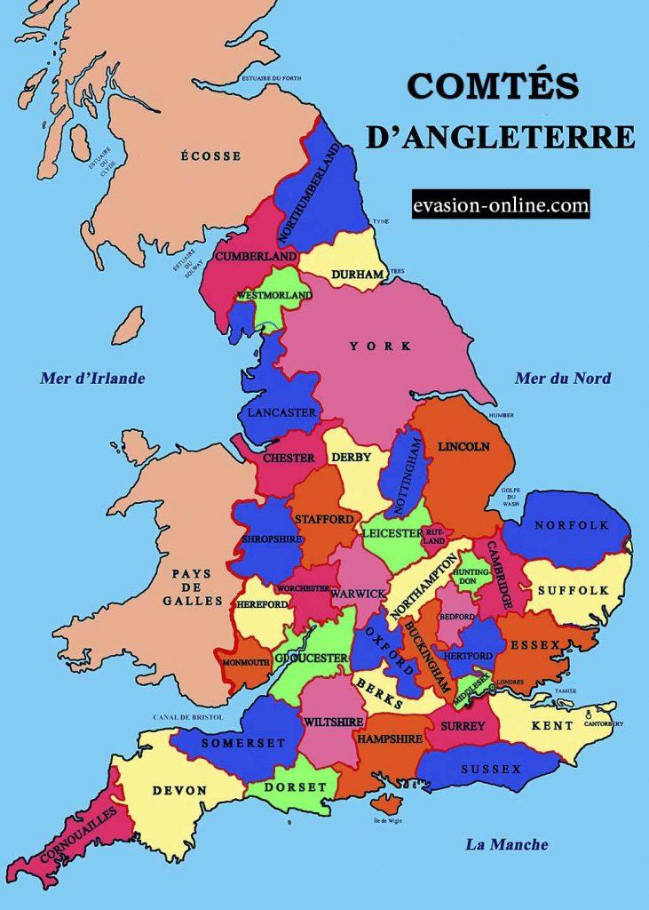 Carte des Comtés en Angleterre