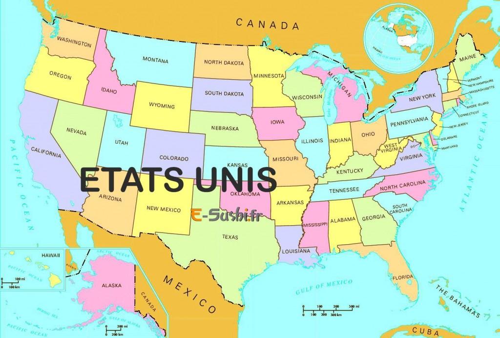 états unis - Carte générale des états