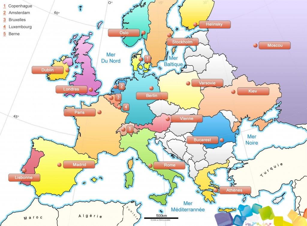 Carte Europe Capitales