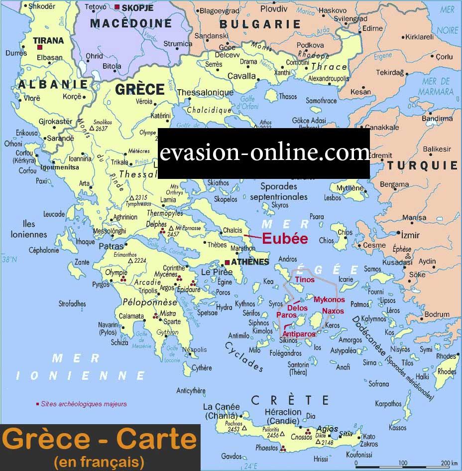 Carte de Grèce en Français