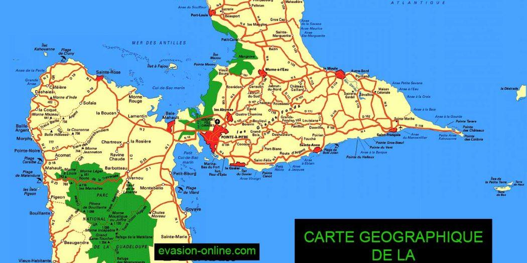 Carte de Guadeloupe   Ile Ouest et Est » Vacances   Arts  Guides