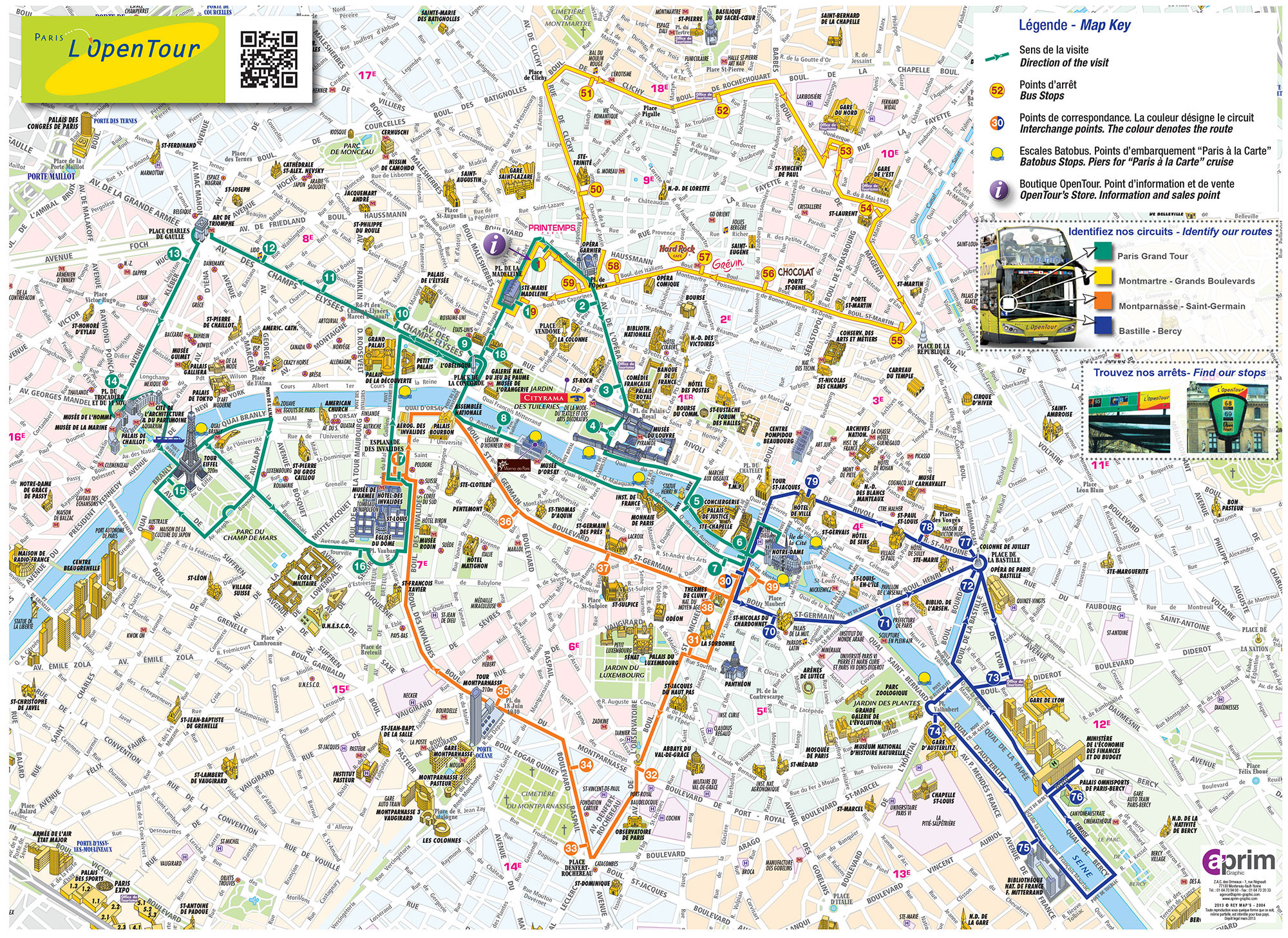 carte touristique de paris - Plan du Bus Open Tour