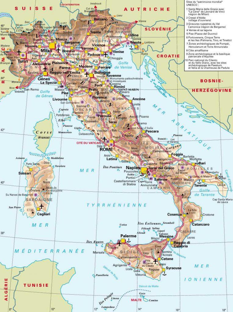 Carte Italie géoraphique
