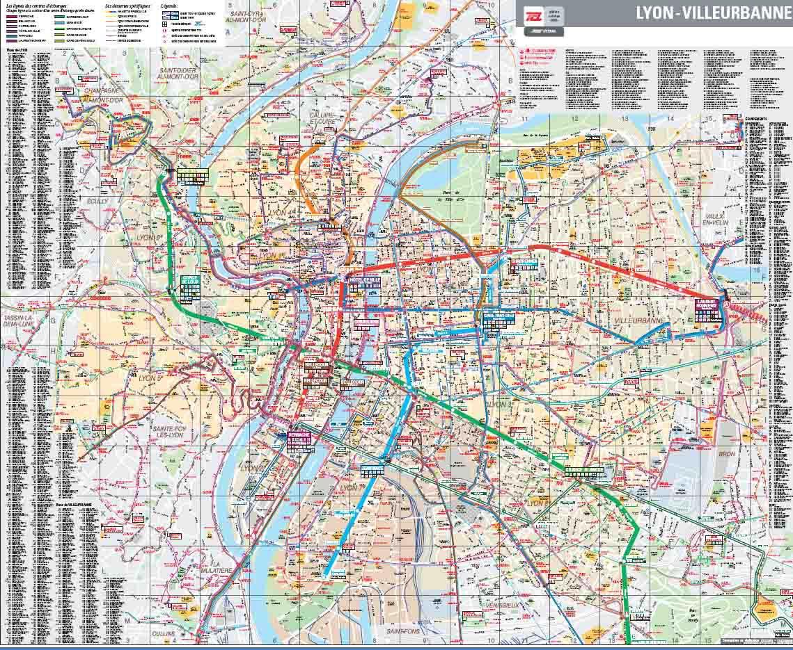 Plan de Lyon à Villeurbanne
