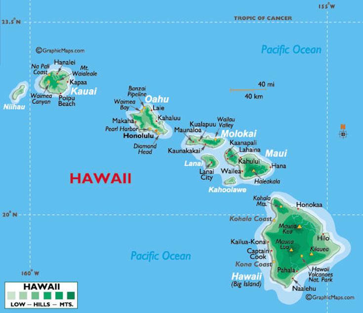 Carte Hawaii -map