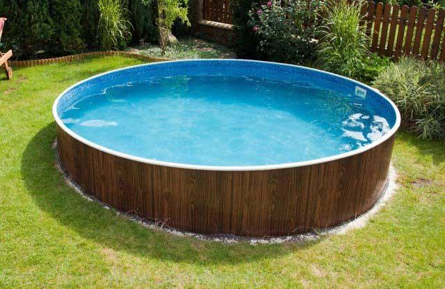piscine ronde jardin bois
