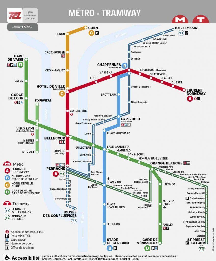 Plan métro Lyon