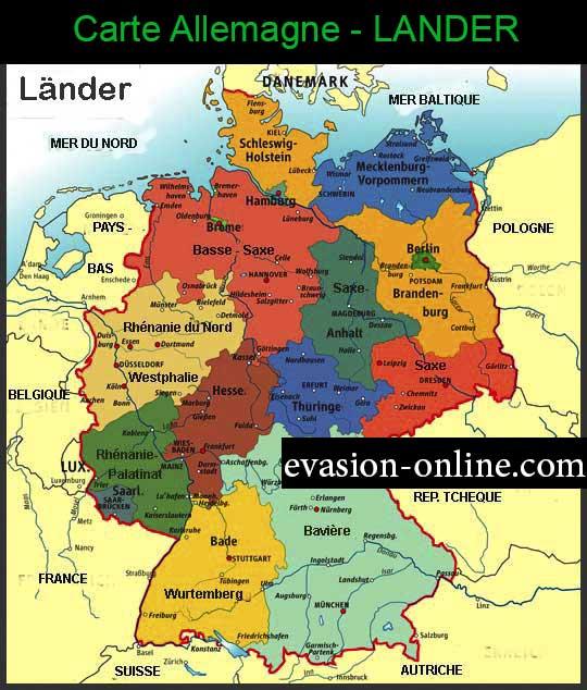 Carte Allemande - Plan de l'allemagne avec ses Régions et ses 16 Länder