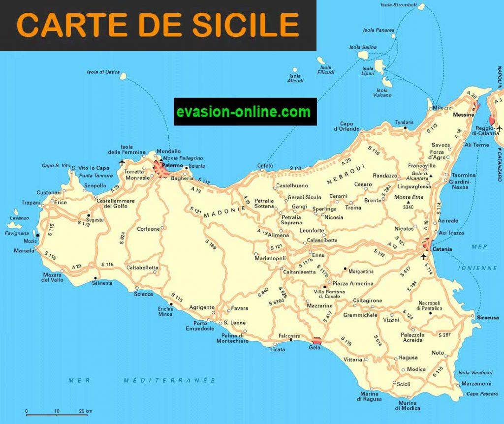 carte de sicile - Région Italie du Sud