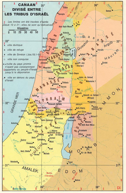 Répartition de Canaan entre les tribus d'Israël