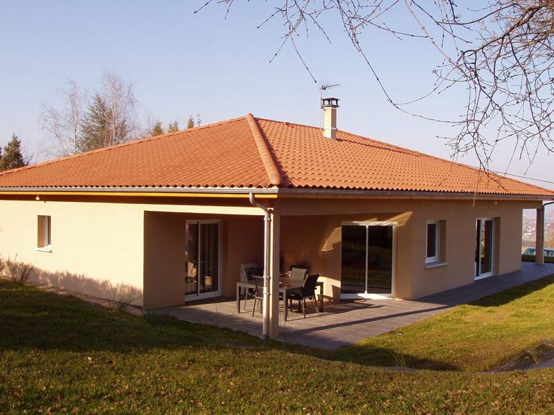 Maison simple de plain pied avec toiture