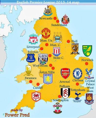 Carte des équipes de foot-en-Angleterre-map