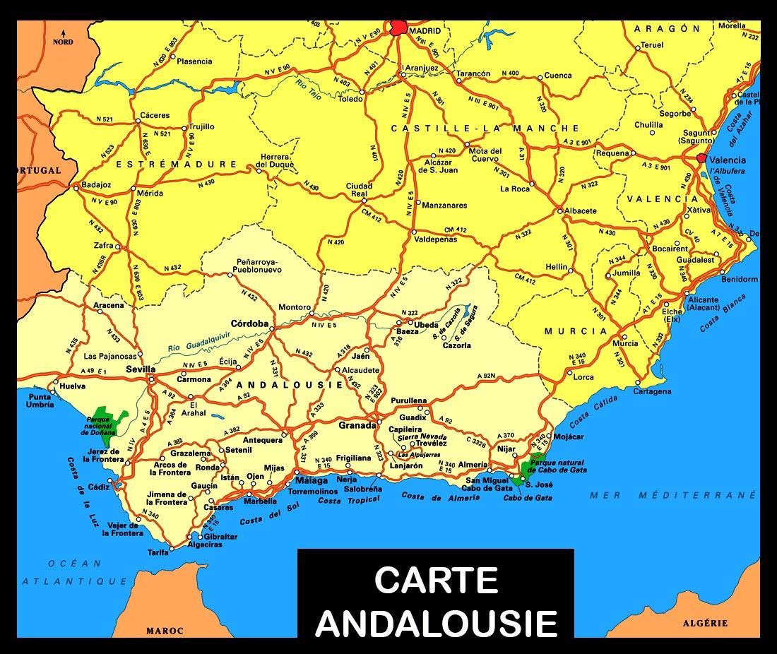 carte andalousie - espagne