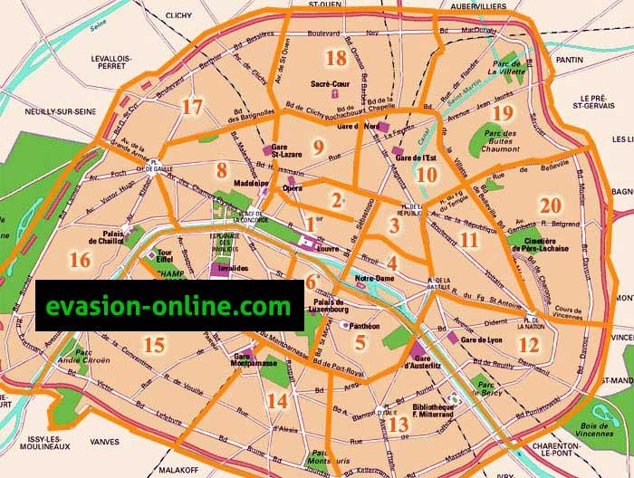 Plan arrondissements de Paris