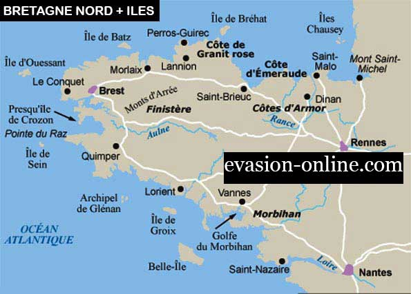 carte des îles de Bretagne