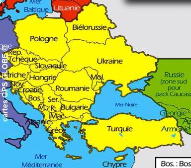 Europe de l'Est - Carte - Carpates