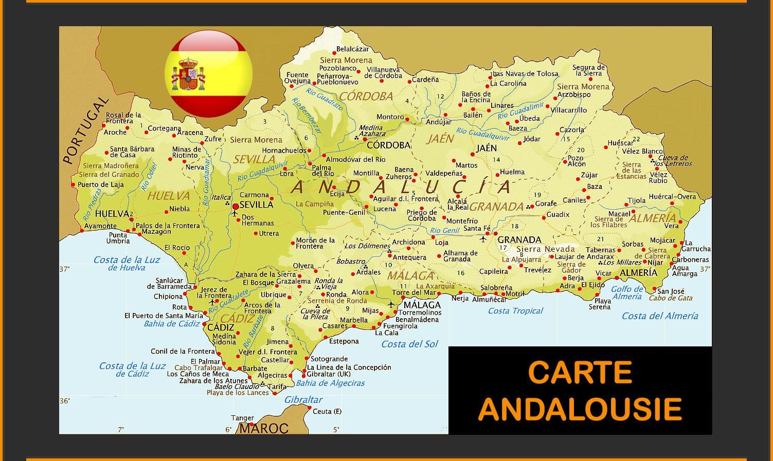 carte de l andalousie détaillée