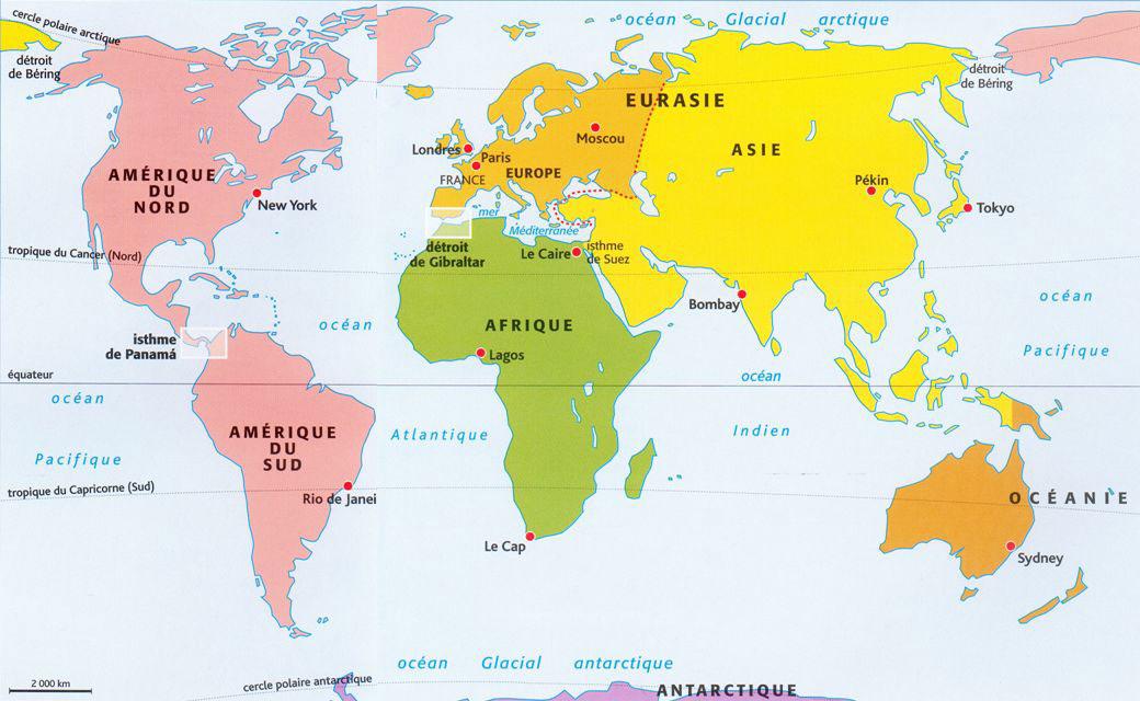 Carte générale - Continents du monde