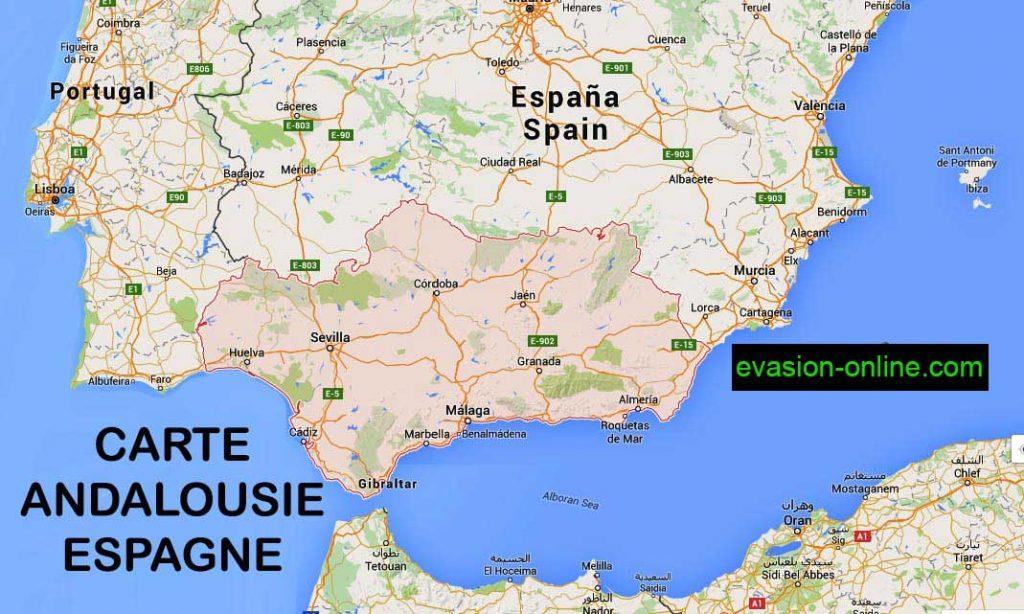 Carte Espagne sud -Andalousie - Google Map