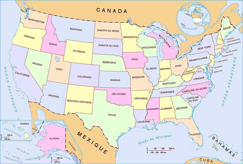 carte etats Amérique