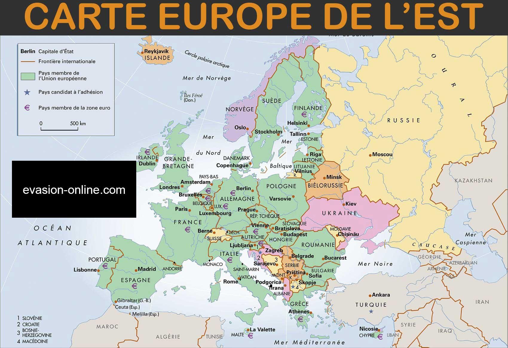 Carte Europe de l Est capitales