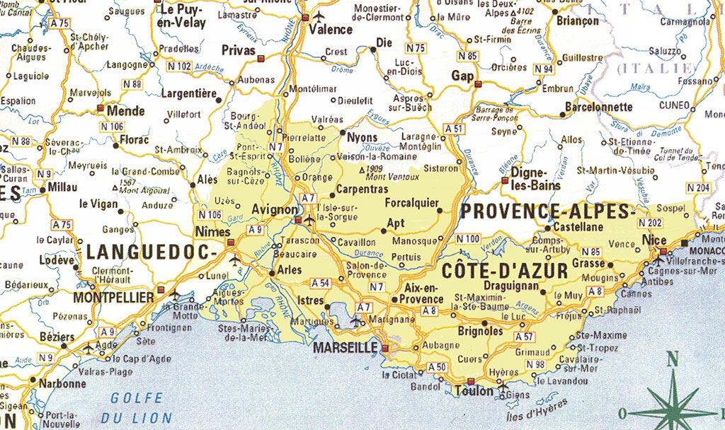 carte du sud de la france detaillee - Photo