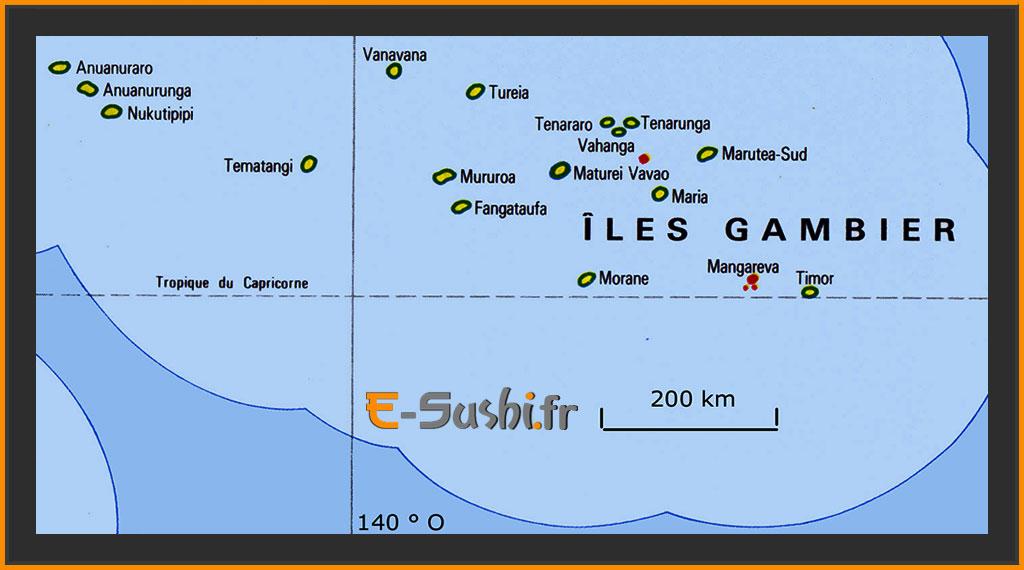 Carte des îles Gambier