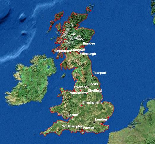 Carte satellite de Grande Bretagne